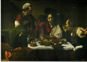 Caravaggio's painting of the dinner at Emmaus
